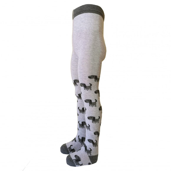 Grey Tights With Dog Prints *Big Fit