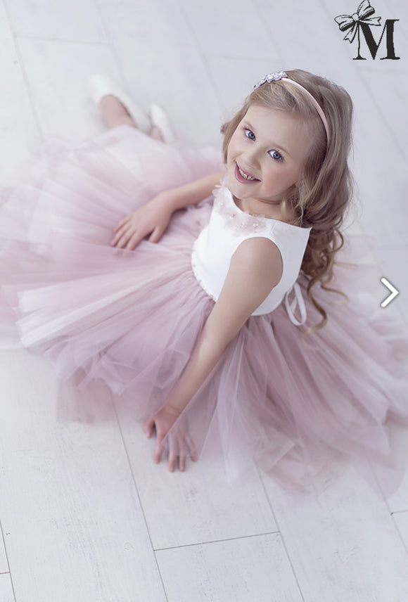 Occasion wear Girls Dress with tulle, cream dusty pink
