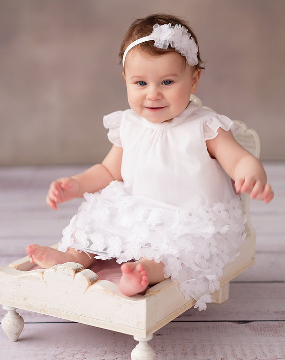 White dress with flowers occasion weddings christening