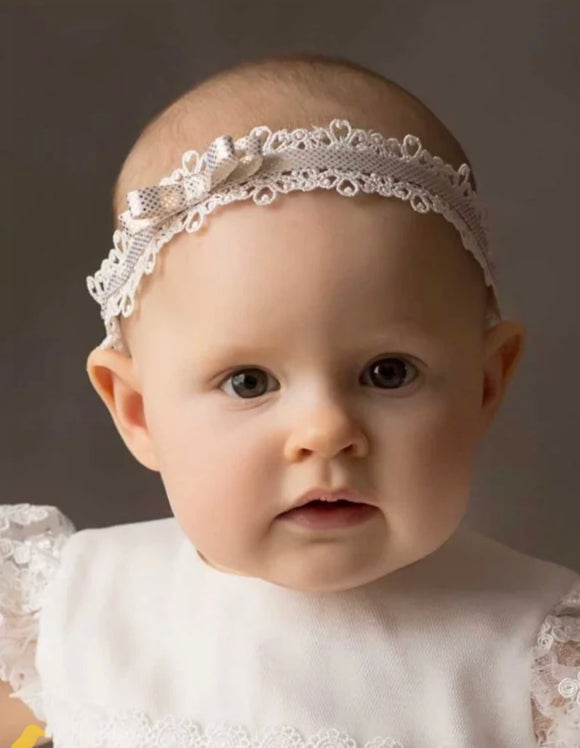 Baby Girl Headband, lace gold details