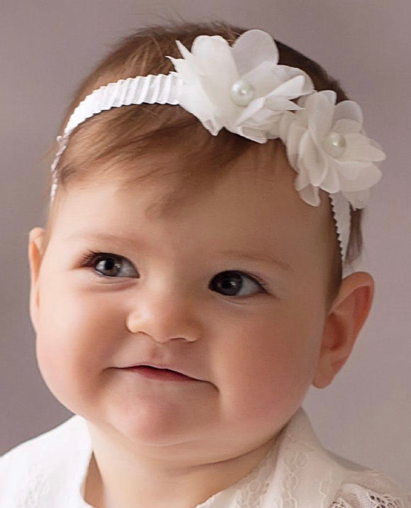 Cream Christening Headband with Pearl