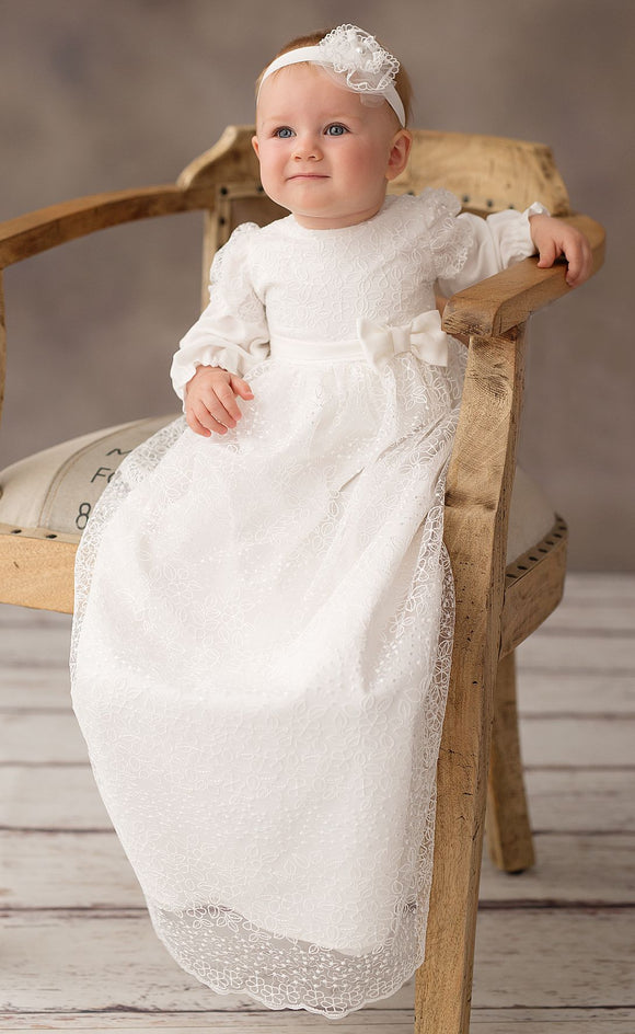 CHRISTENING GOWN DRESS LONG LACE LONG SLEEVE