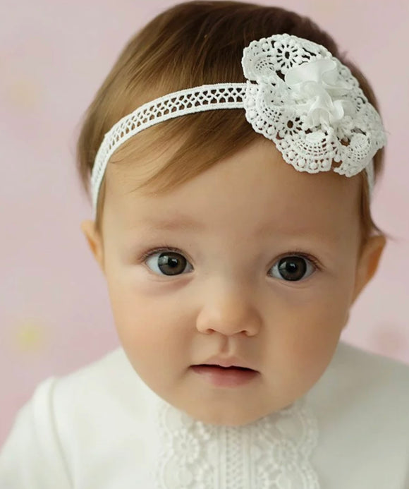 Cream Lace Headband With Pearl
