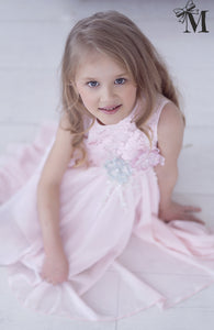 Occasion wear, Girls dress with flower decoration Soft Pink