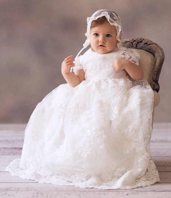 Christening gown, long dress, cream/ivory, embroidered