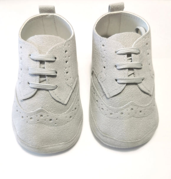 Baby Boy Light Grey Occasion Wear, Christening Booties, Shoes