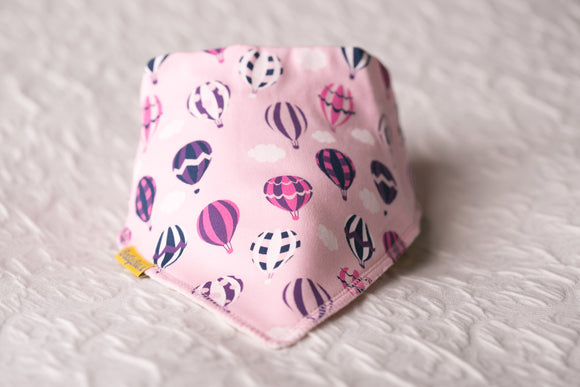 FLOAT AWAY PINK HOT AIR BALLOONS ORGANIC COTTON BANDANA BIB