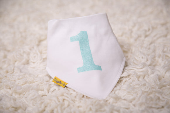 MY FIRST BIRTHDAY AQUA ORGANIC COTTON BANDANA BIB