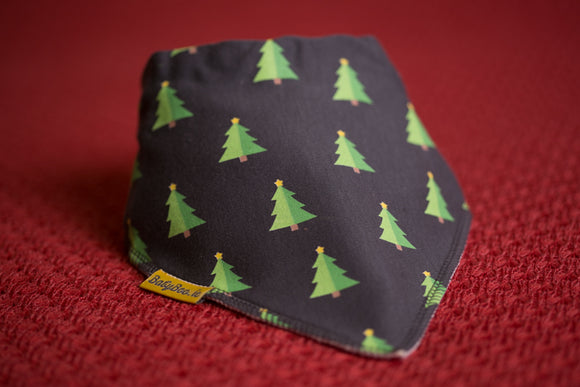 GREY CHRISTMAS TREES ORGANIC COTTON BANDANA BIB