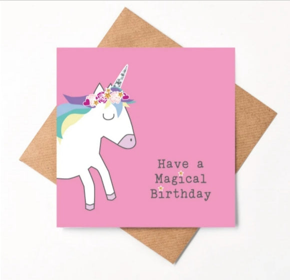Unicorn Birthday Card  (little paper mill)