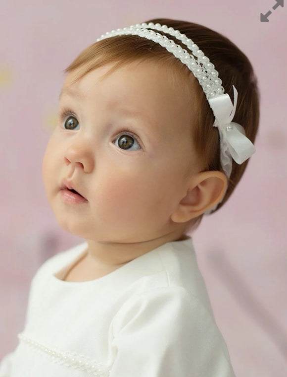 Christening headband with pearls Klara