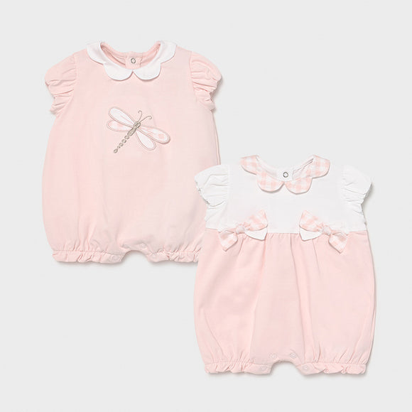 Set of 2 cotton rompers for newborn girl    (mayoral)