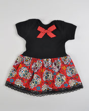 Sugar Skull Onesie Dress (red)