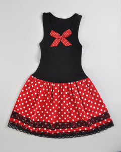 Polka Dot Tank Dress (red)