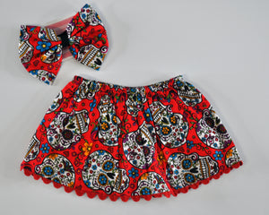Sugar Skull Skirt & Headband Set (red)