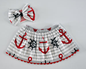 Sweet Sailor Skirt & Headband Set