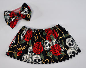 Skull & Rose Skirt & Headband Set