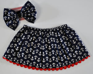 Anchors Away Skirt & Headband Set