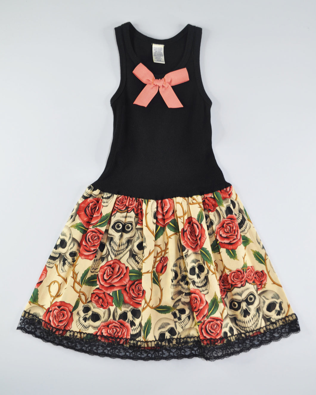 Skull & Rose Tank Dress (cream)