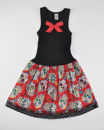 Sugar Skull Tank Dress (red)