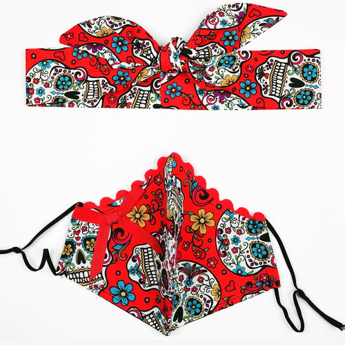 Red Sugar Skull Petite Designer Mask Headband Set