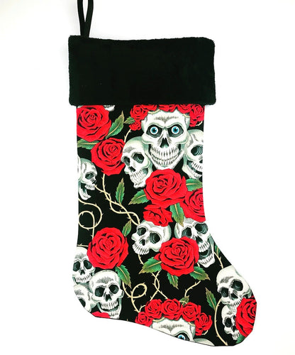 Skulls and Roses Christmas Stocking