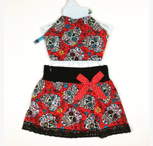 Sugar Skull Skirt (red) and Haulter Top