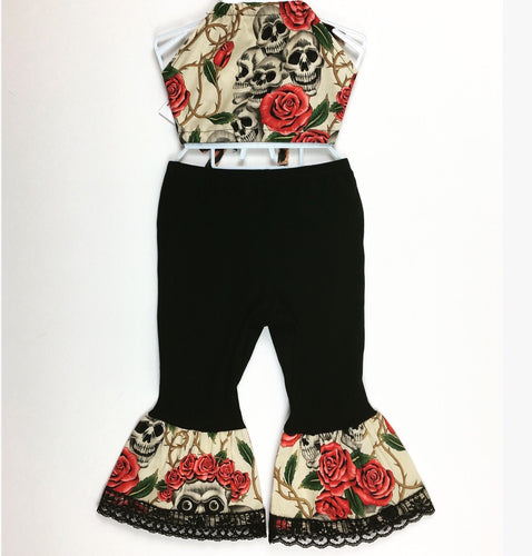Skull & Rose Bratz Bottoms (cream) Haulter Set