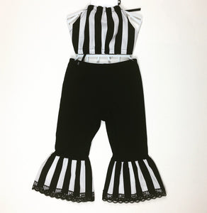 Beetleguese Blk and Wht Striped Bratz Bell Bottoms and Haulter