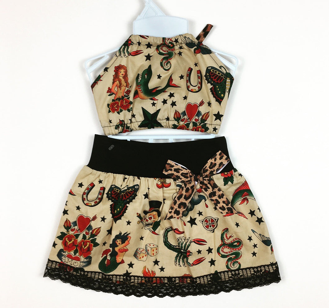 Tattoo Flash Skirt and Haulter Top(kids)