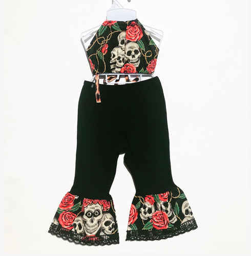 Skull and Roses pink Bratz Bottoms and Haulter Set