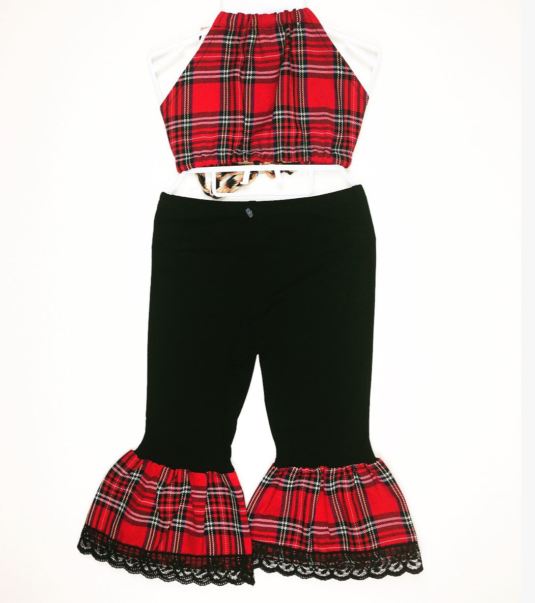 Red Plaid Bratz Bottoms and Haulter Set