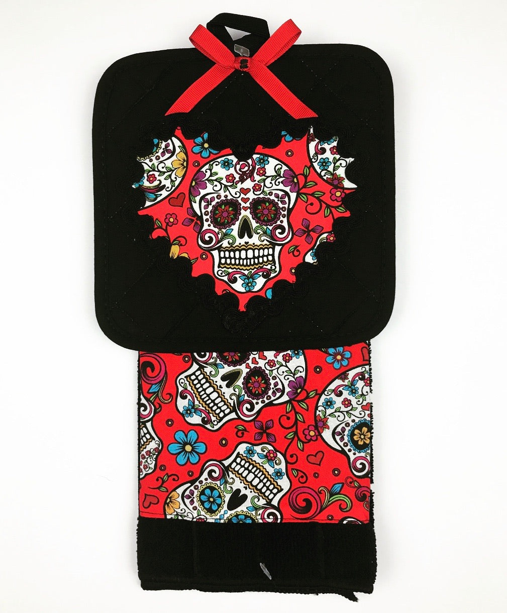 Red Sugar Skull Kitchen Towel Set