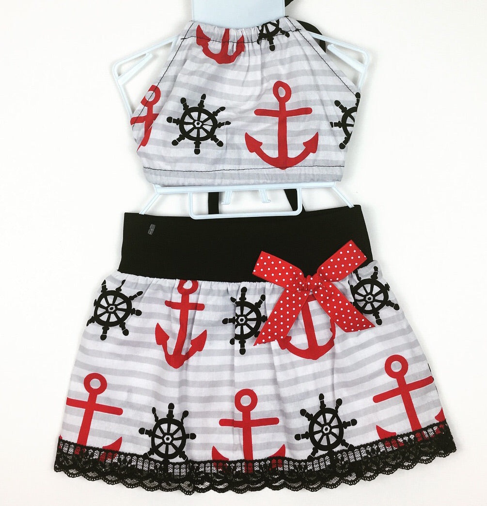 Sweet Sailor Skirt and Haulter Top