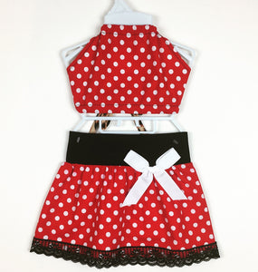 Polka Dot Skirt (red) and Haulter Top