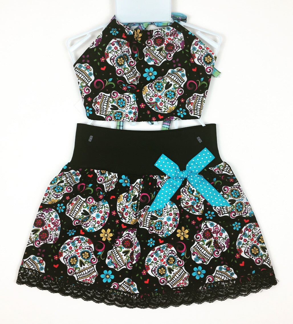 Sugar Skull Black Skirt and Haulter Top