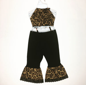 Leopard Bratz Bell Bottom and Haulter Set