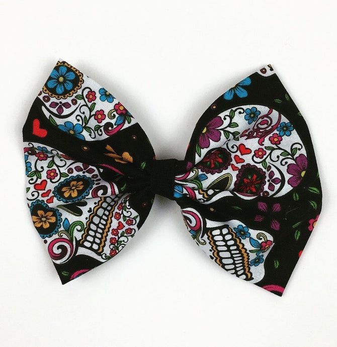 Sugar Skull Black Hair Bow
