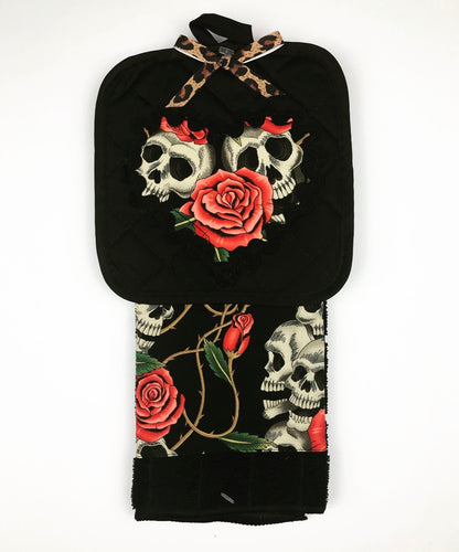 Pink Skull and Roses Kitchen Towel Set