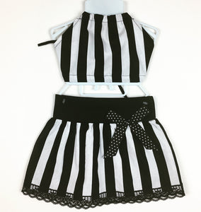 Beetleguese Blk and Wht Striped Skirt and Haulter Top