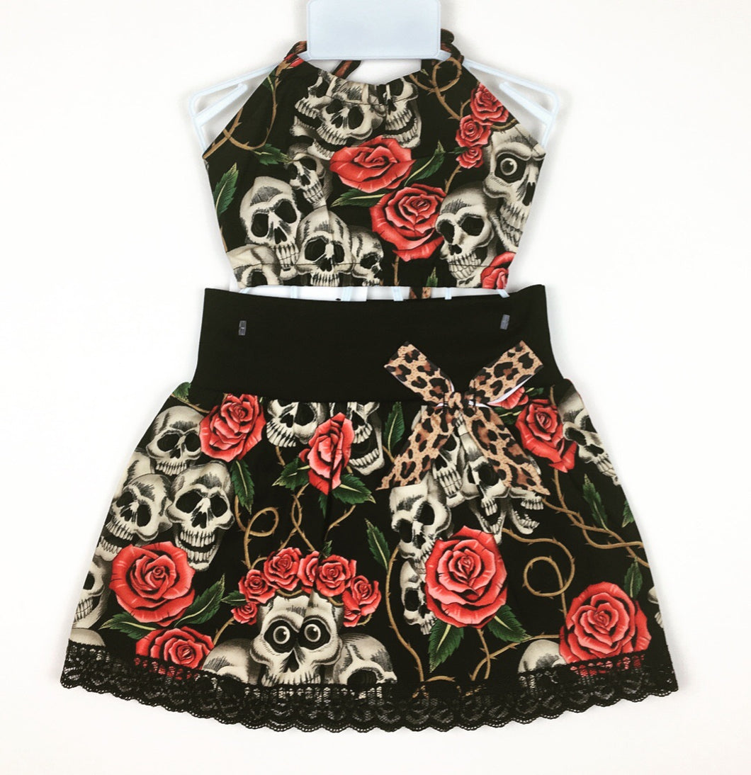 Skull & Rose Skirt and Haulter Top