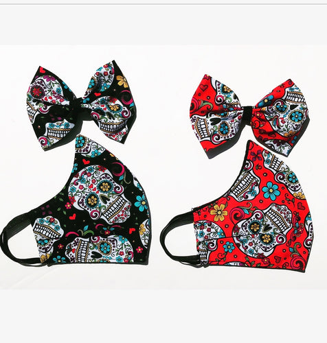 Sugar Skull Mask/Hair Bow Set