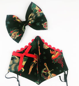 Black Tattoo Petite Designer Mask Bow Set