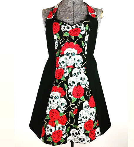 Skull Red Rose Kreepy Kitchen Womans Apron