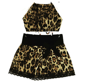 Leopard Skirt and Haulter Top