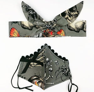 Gray Ouija Petite Designer Mask Headband Set
