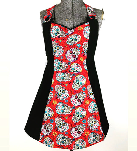 Red Sugar Skull Kreepy Kitchen Womans Apron