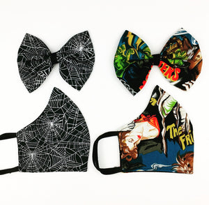 Creepy Face Mask/ Bow Set