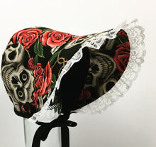 Skulls and Roses Pink Baby Bonnet