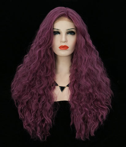Purple Body Curl Synthetic Lace Front Wig - Hair Triss